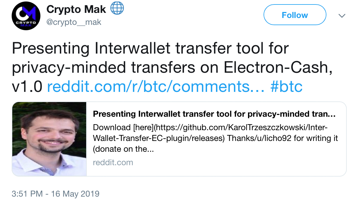 Developer Creates Interwallet Transfer Plugin to Strengthen Bitcoin Cash Privacy